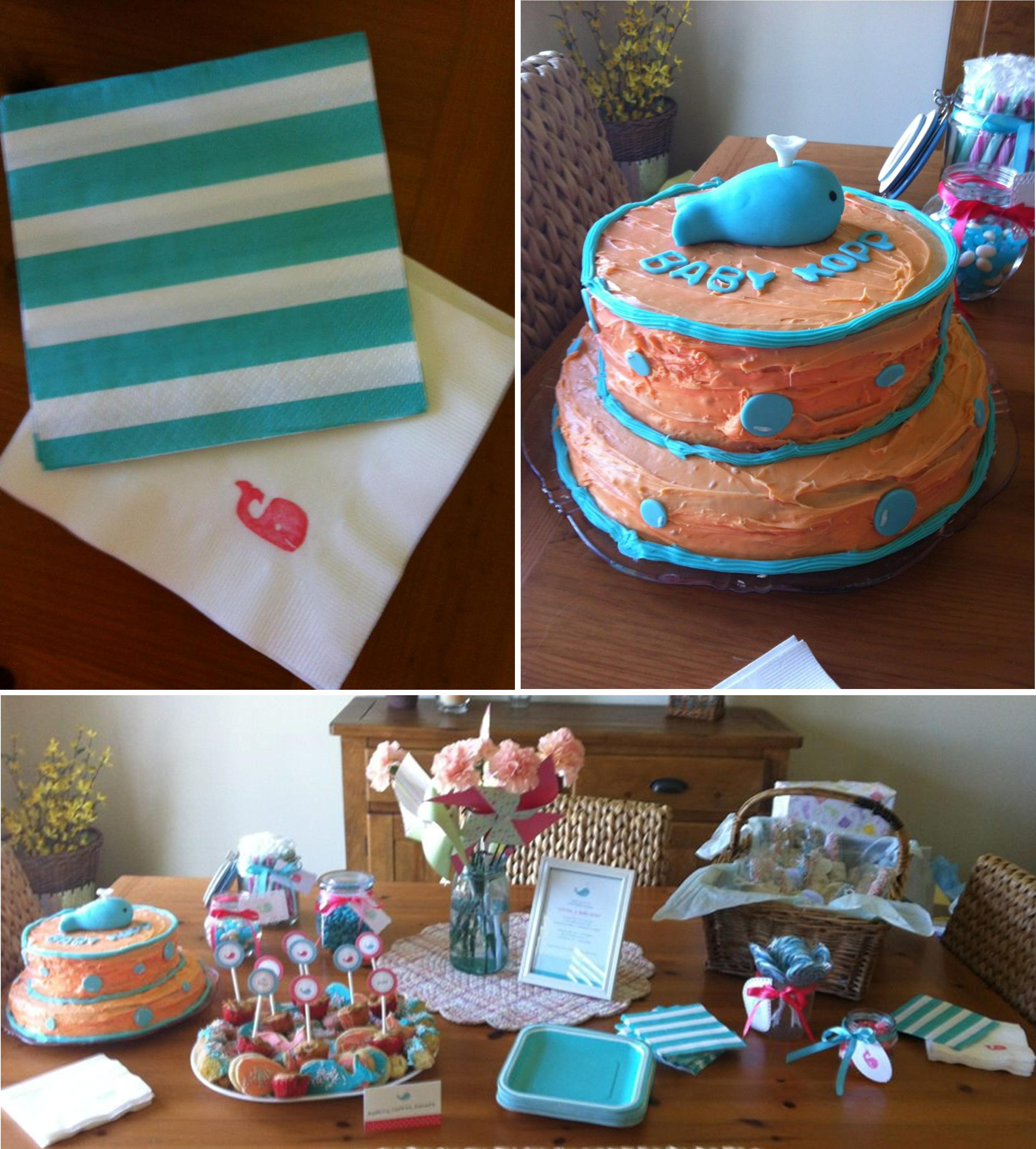 """Our Baby Shower A """"Whale"""" of a Good Time Ice Cream f Paper Plates"""