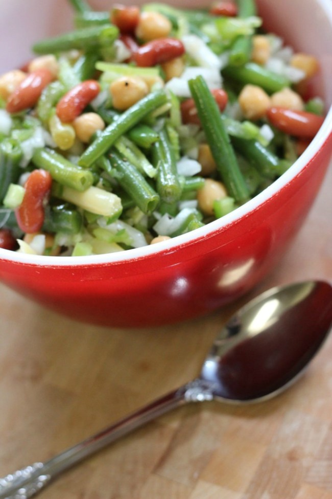 bean salad bowl with spoon
