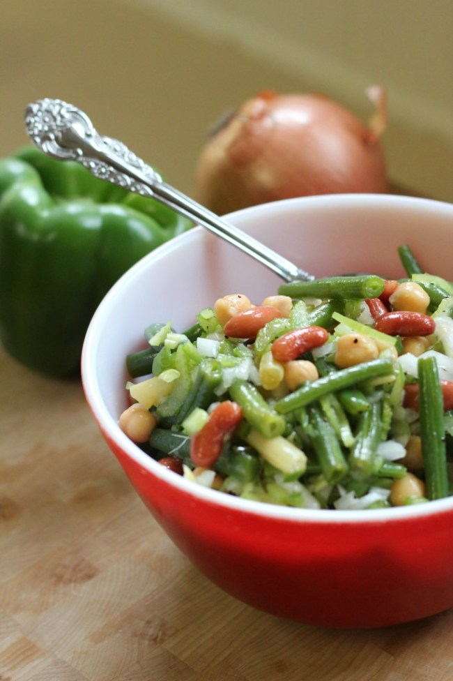 spoon in bean salad