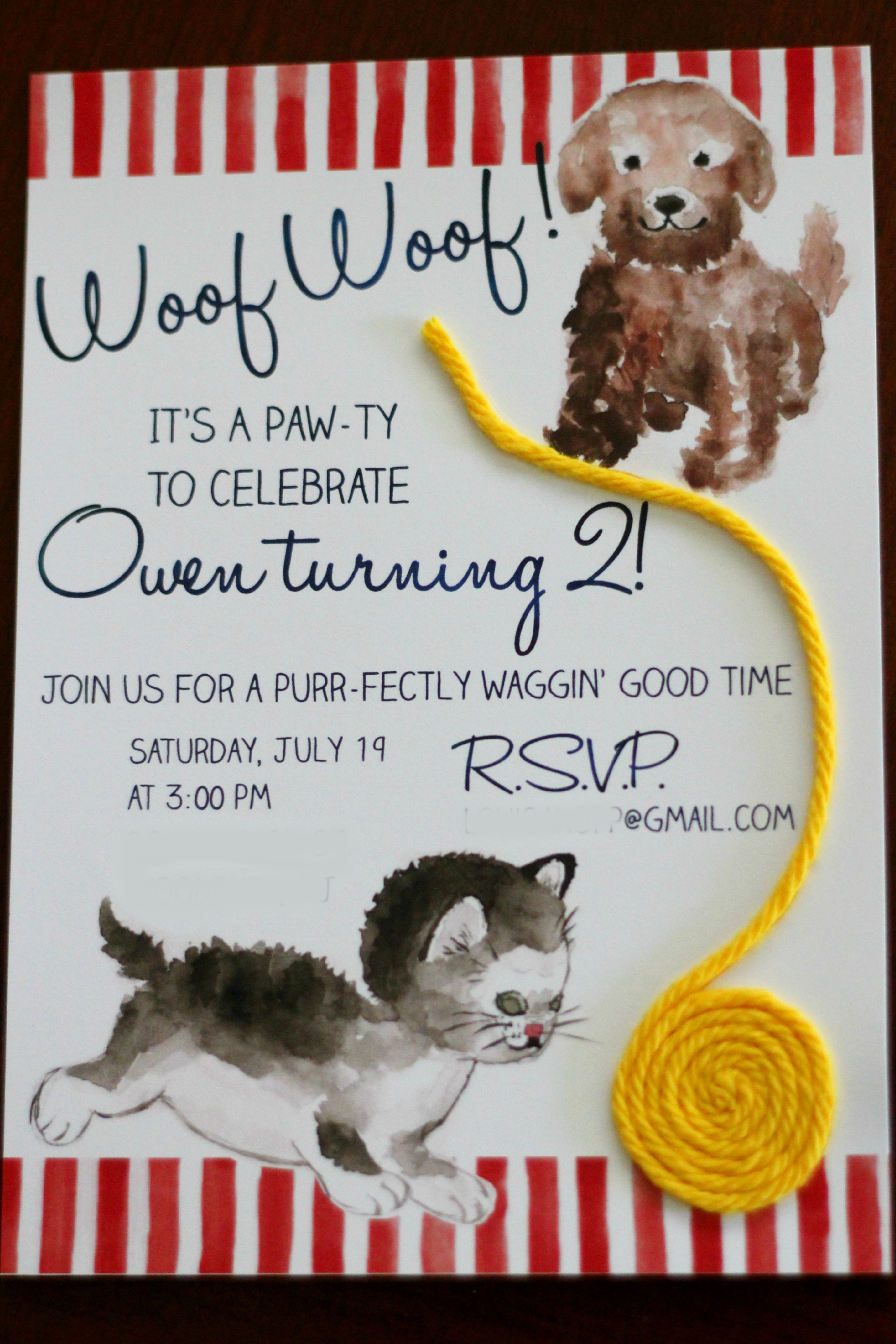 A purr fect invitation for owens second birthday party ice i couldnt find suitable clip art images of a cat and dog available for purchase so i decided to make my own for the invitation filmwisefo Image collections