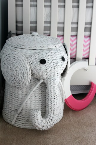 gray and pink nursery hamper elephant