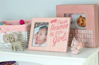 gray and pink nursery photo frames