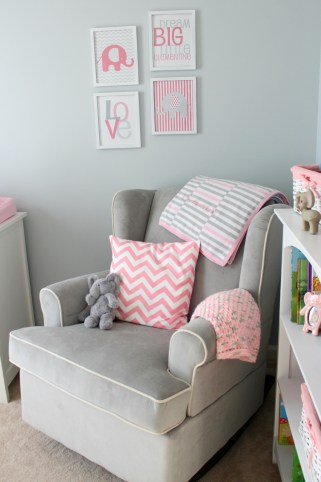 gray and pink nursery rocking chair