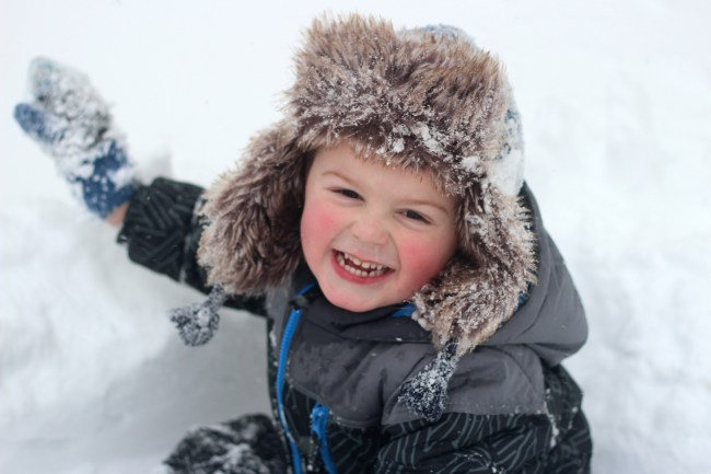 owen smiling snow