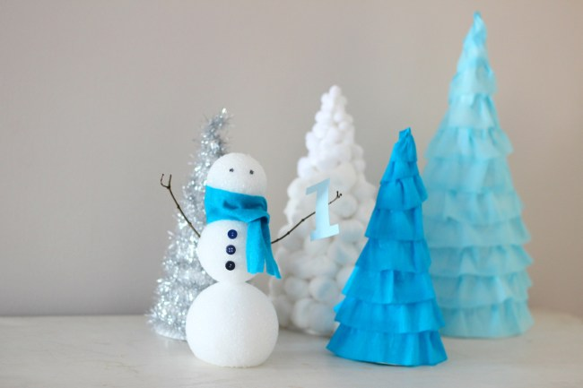 Winter Wonderland First Birthday Party - Snowman and Cone Tree Centerpieces