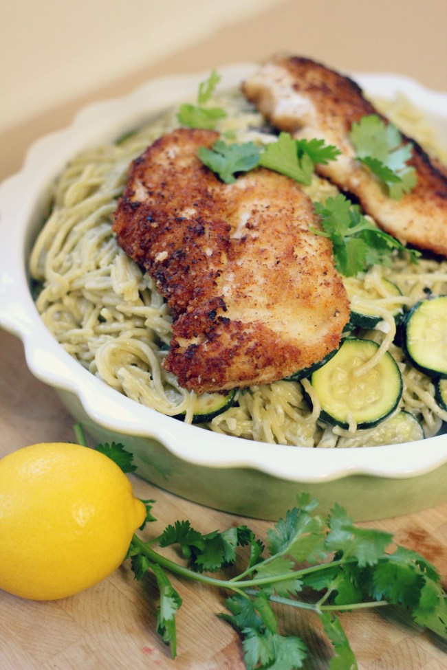 Parmesan-Crusted Crispy Chicken with Creamy Lemon Zucchini and Pasta