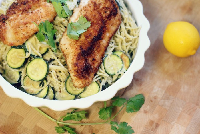 Crispy Chicken with Creamy Lemon Zucchini Pasta