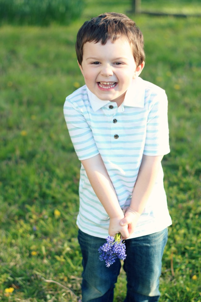 Owen's Quarterly Update - Spring Time Photos of Three-Year-Old