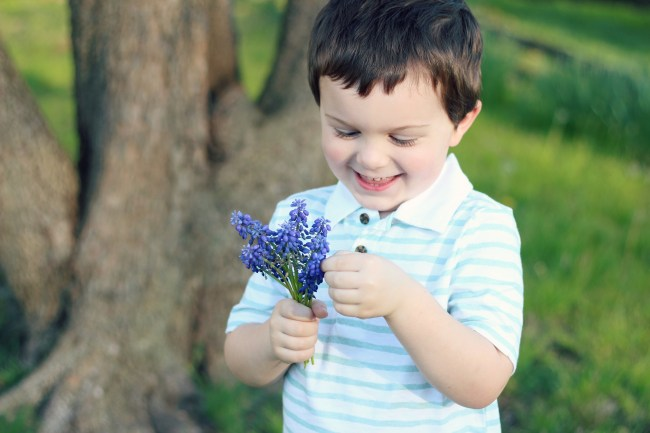 Owen's Quarterly Update - Springtime Photos of Three-Year-Old