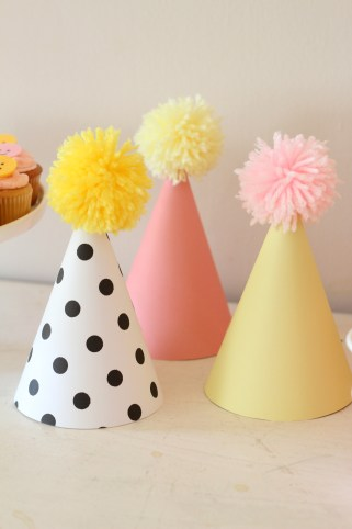 smiley face party hats treat table