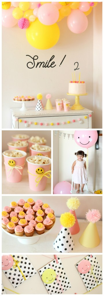 Smiley Face Birthday Party - Pink, Yellow, and Black and White Polka Dots Party Decorations