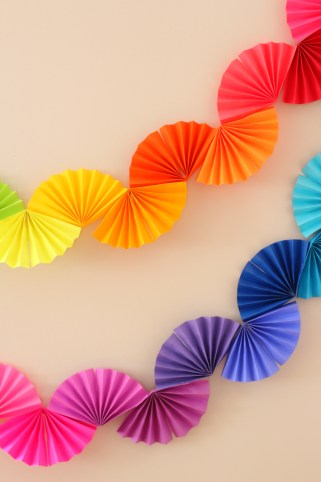 rainbow paper fan garland easy diy