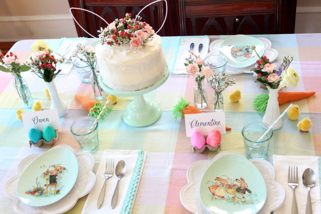 easter egg dying party tablescape