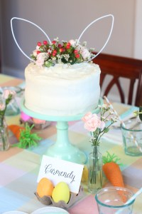 easter egg party cake and place card