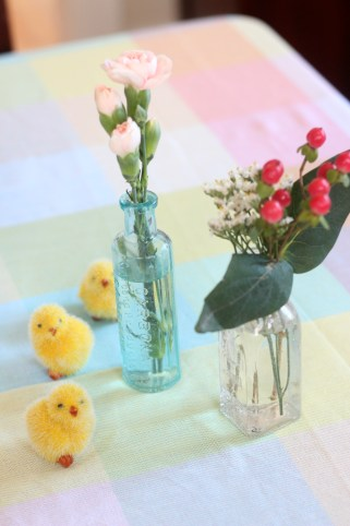 easter egg party flower vases and chicks