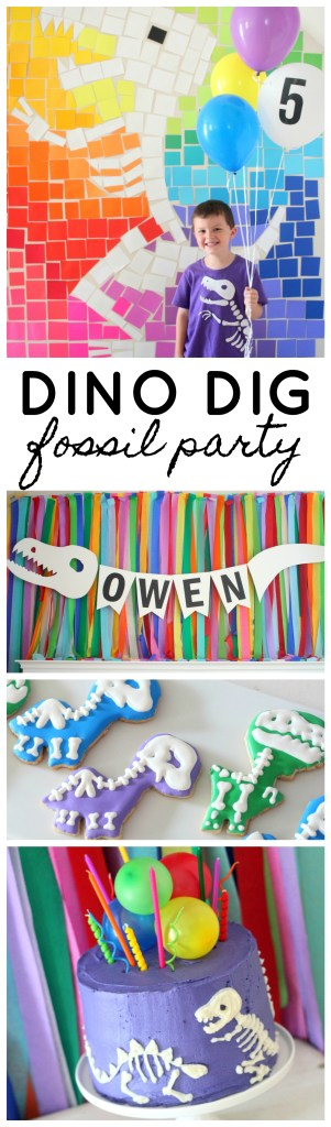 Dinosaur Dig Birthday Party for Boy or Girl, Modern Dino Dig Fossil Party with Bright Rainbow Colors