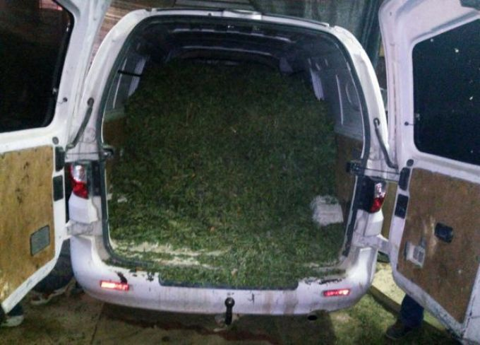 Cannabis carelessly loaded into van