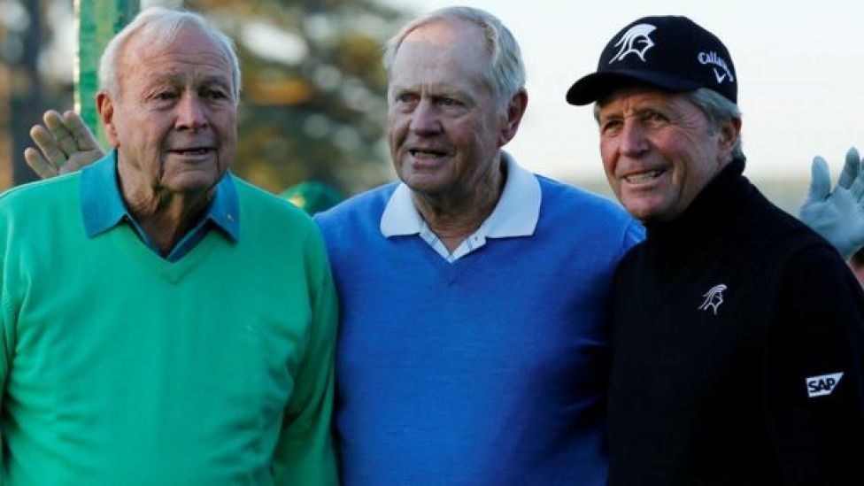 Arnold Palmer, left, with fellow golfers Jack Nicklaus, centre, and Gary Player in Augusta 2014