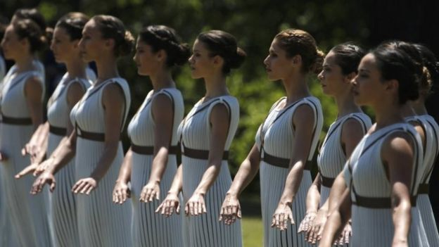 Priestesses attend the Olympic flame lighting ceremony for the Rio 2016 Olympic Games inside the ancient Olympic Stadium on the site of ancient Olympia (21 April 2016)