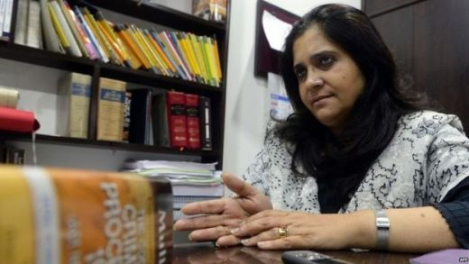 In this photograph taken on July 22, 2015, Indian activist Teesta Setalvad speaks to AFP during an interview at her lawyer's office in Mumbai.