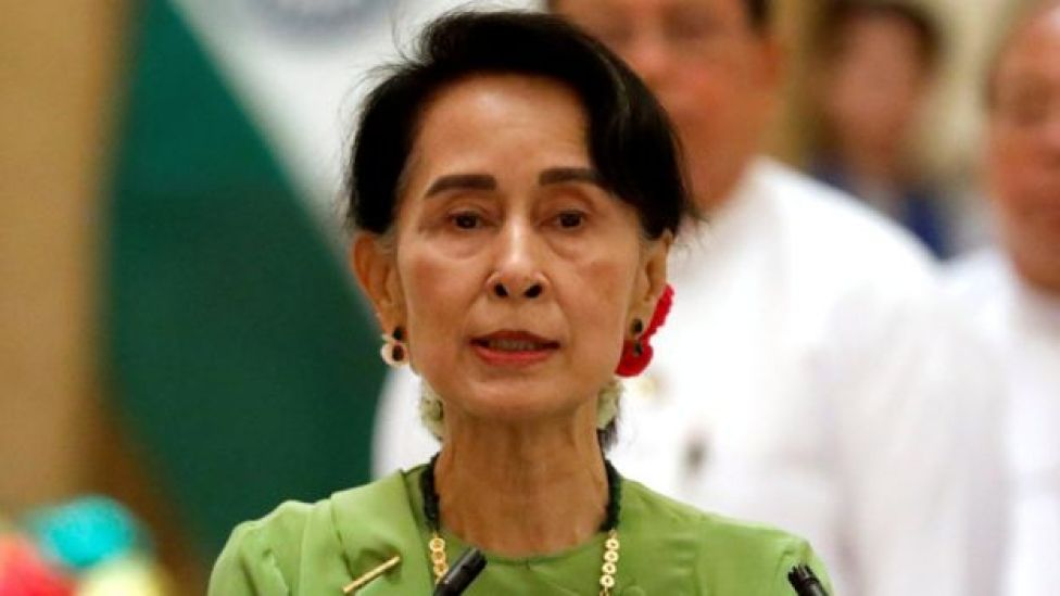 Aung San Suu Kyi at news conference with Indian prime minister - 6 September