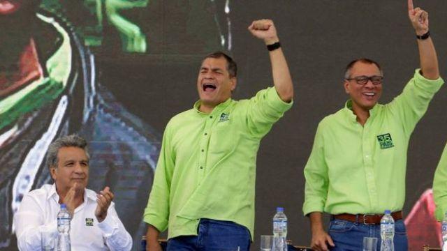 Lenin Moreno, Rafael Correa y Jorge Glas.