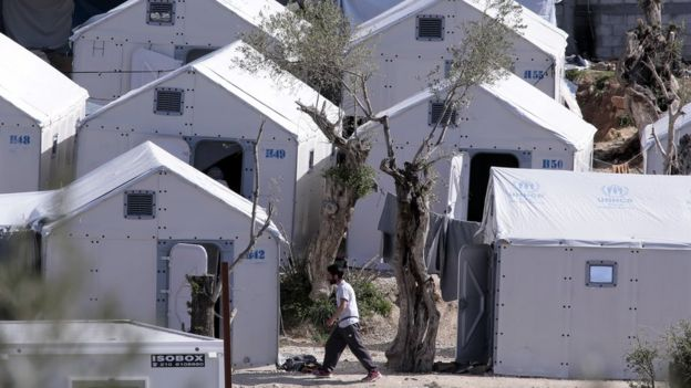 The Moria migrant camp on Lesbos