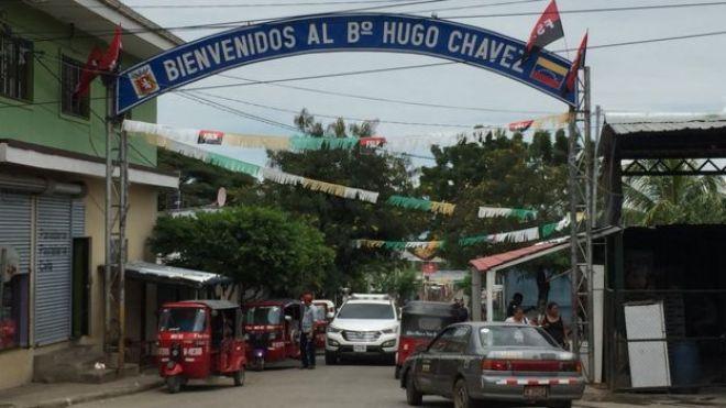 Entrada al barrio Hugo Chávez de Managua.