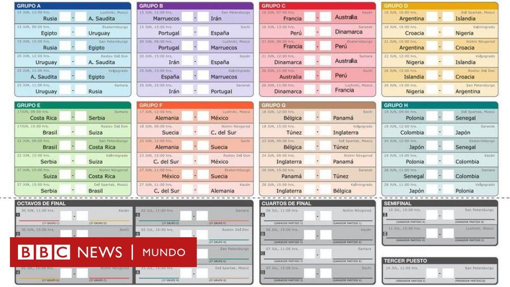 Descarga aquí el calendario de partidos del Mundial de Rusia 2018