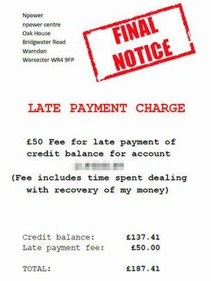 Customer gives Npower \u0027final notice\u0027 - BBC News - final notice letter
