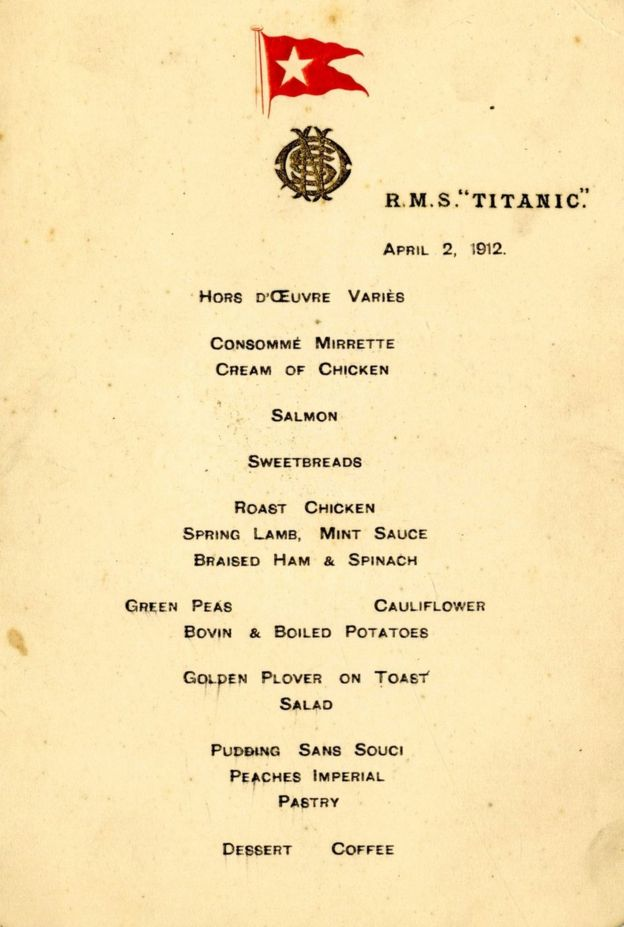 First Titanic menu fetches £100k at auction - BBC News