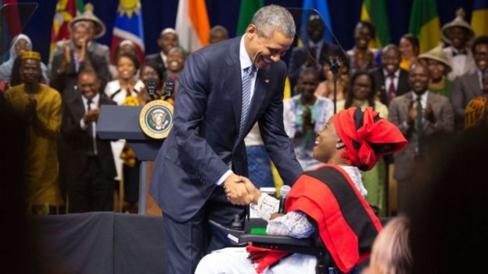 Grace Jerry shaking President Obama's hand