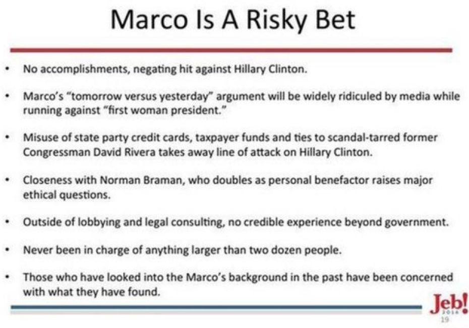 A Jeb Bush campaign memo calls Marco Rubio