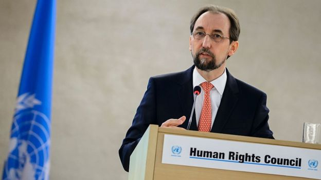 United Nations High Commissioner for Human Rights Zeid Raad Al-Hussein delivers his speech at the opening of the main annual session of the United Nations Human Rights Council