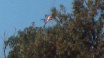 A Russian warplane crashes in northern Syria, after reportedly being shot down by Turkish jets (24 November 2015)