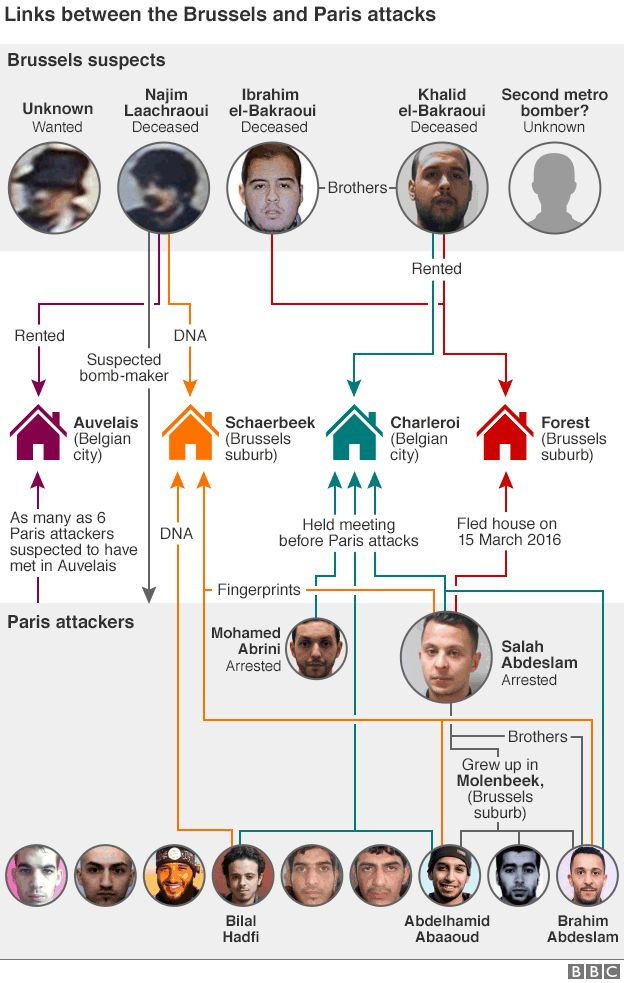 Graphic showing the connections between the Brussels suspects and the Paris attackers
