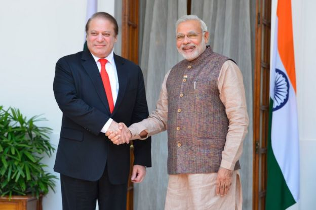 Pakistani Prime Minister Nawaz Sharif shakes hands with Prime Minister Narendra Modi after the swearing-in ceremony of the NDA government in New Delhi on Tuesday, May 27, 1014