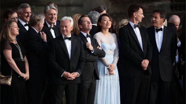 Donald Trump US president meets Theresa May at Blenheim Palace - formal event