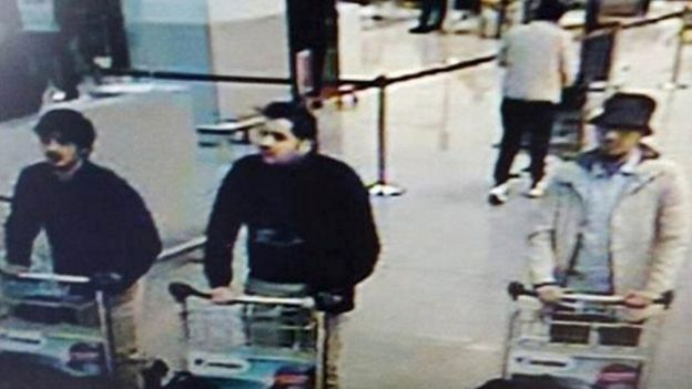 CCTV shows suspects in Brussels airport attack on March 22, 2016