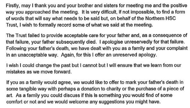 Northern Health Trust Family \u0027misled\u0027 over father\u0027s death - BBC News - apology letter to family
