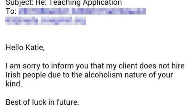 Irish alcoholism nature\u0027 reason for job rejection for Irish teacher