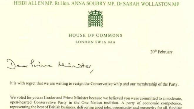 In full Tory MPs\u0027 resignation letter - BBC News