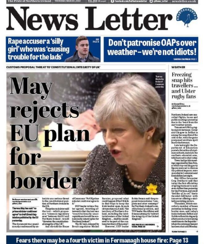 NI Newspaper headlines Brexit battle and the \u0027Beast from the East