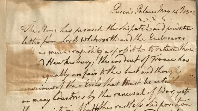 War letter from King George III sells for £11,430 at auction - BBC News