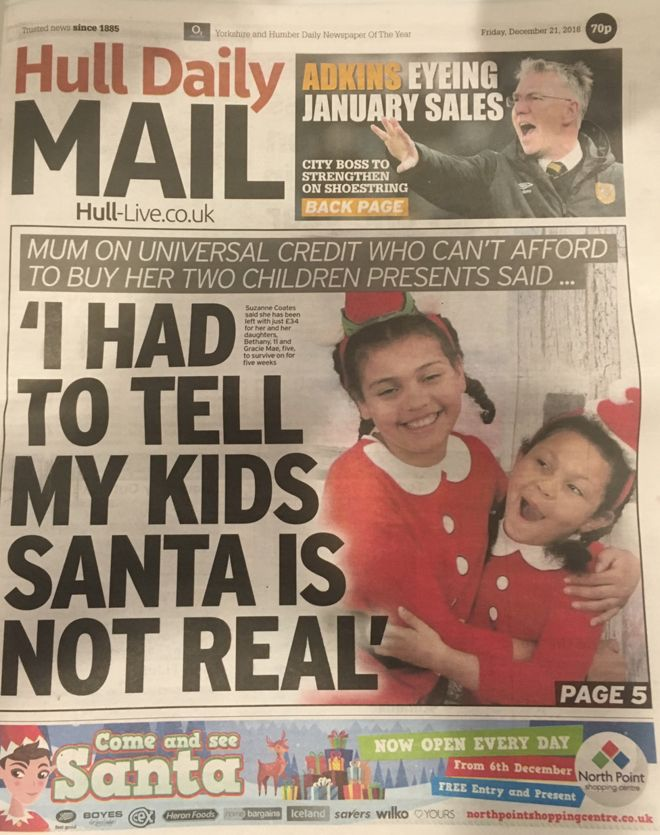 Newspaper defends \u0027Santa is not real\u0027 front page - BBC News