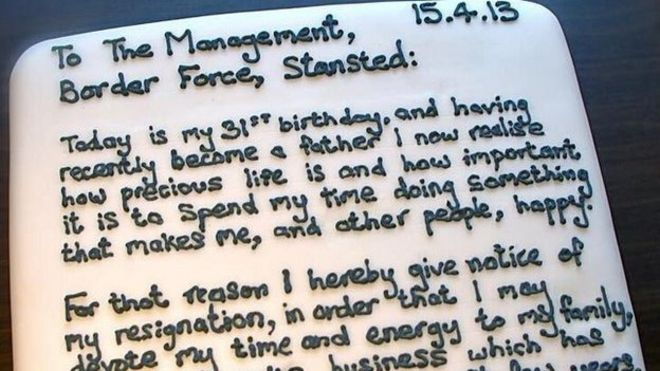 Stansted Airport worker bakes resignation \u0027letter\u0027 - BBC News - resignation letter cake