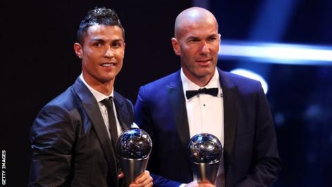 Real Madrid forward Cristiano Ronaldo and boss Zinedine Zidane with their Best Fifa Football Awards.