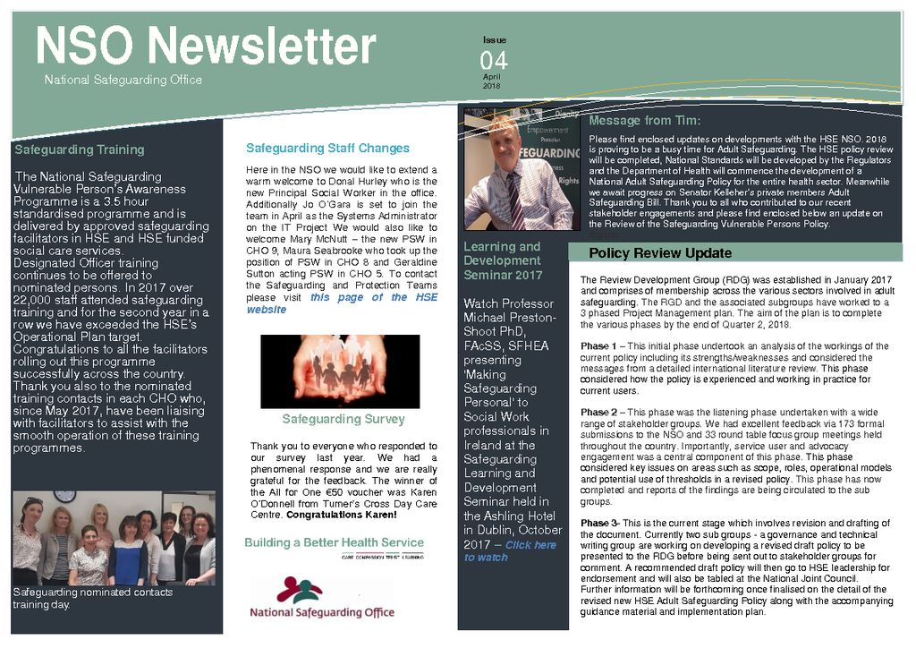 ICHN \u2013 National Safeguarding Office \u2013 Newsletter 2018