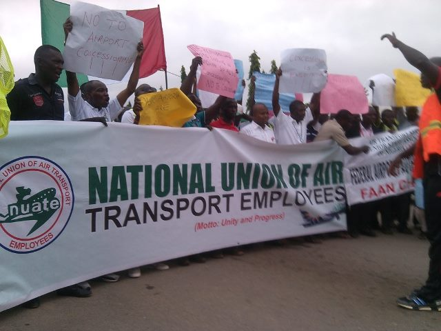 FAAN, Affiliated Unions Stage Protest Over Airports' Concession