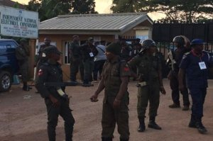 There was heavy security presence at the headquarters of the INEC as collation continues across the state
